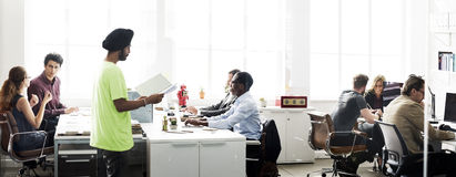 Business Team Busy Working Talking Concept.  Stock Photo