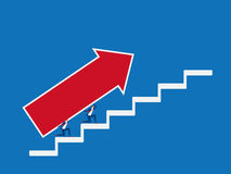 Business team carrying growth arrow graph on stairs to target and success. Stairs step to success. Cartoon Vector Illustration Stock Image