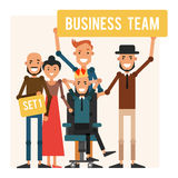 Business team. Cartoon boss in the crown with colleagues. Vector Stock Photos