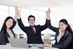 Business team celebrate their winning Royalty Free Stock Image