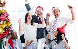 Business team celebrating Christmas Stock Image