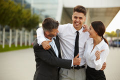 Business Team Celebrating a Deal. Thumbs up Stock Image