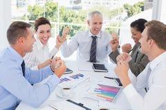 Business team celebrating a good job Stock Image