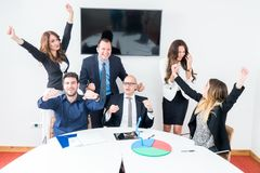 Business team celebrating in office royalty free stock photos