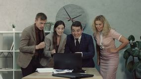 Business team celebrating successful business launch stock video