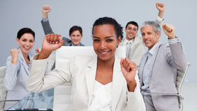 Business team celebrating a sucess stock photography
