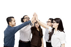 Business team celebrating their achievement. Diversity of business team celebrating their achievement by giving high five together, isolated on white background royalty free stock photography