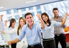 Business team celebrating a triumph Stock Photos