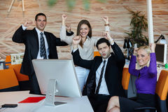 Business team celebrating Stock Images