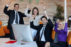 Business team celebrating Stock Photo