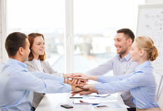 Business team celebrating victory in office Stock Images