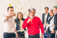 Business team celebrating victory royalty free stock photo