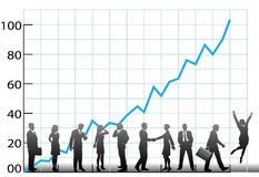 Business team chart company growth. The team at a business chart the company growth in a graph to success Stock Images
