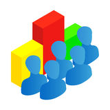 Business team with chart icon, isometric 3d style. Business team with chart icon in isometric 3d style isolated on white background Royalty Free Stock Images