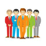 Business team, cheeky cartoon men in suits.  vector illustration