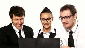 Business team cheerfully talking. laptop in front stock video footage