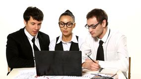Business team cheerfully talking. laptop in front stock footage