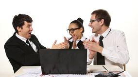 Business team cheerfully talking, very happy news stock video