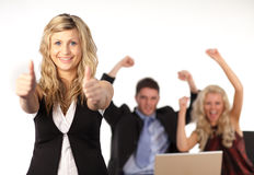 Business team Cheering. And happy Royalty Free Stock Photos