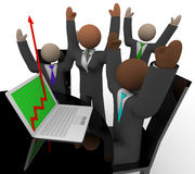 Business Team Cheers Growth Arrow Laptop Stock Photo