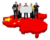 Business Team On China Map Flag Royalty Free Stock Photos
