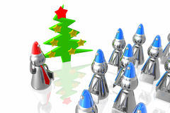 Business team and christmass tree. Business team with leader in santa hats and christmass tree Royalty Free Stock Photography