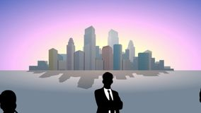 Business team at city background. Video of a business team at city background stock footage