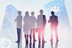 Business team in city, digital interface royalty free stock images