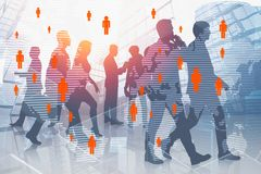 Business team in city, global people network royalty free illustration