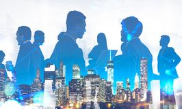Business team in city, network interface royalty free stock photography