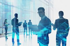 Business team in city, network interface stock image