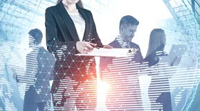 Business team in city, world map stock images
