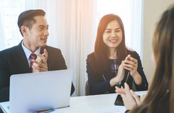 Business team clapping applaud for successful meeting Royalty Free Stock Image