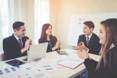 Business team is clapping hands for successful meeting. Business team is clapping applaud for successful meeting Royalty Free Stock Photos