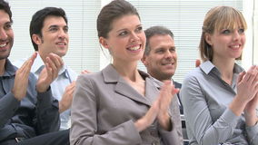 Business team clapping hands stock video footage