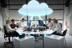 Business team with cloud computing hologram. Cloud computing, future technology and people concept - business team with computers working at office royalty free stock images