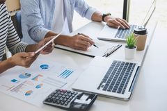 Business team collaboration discussing working analysis with financial data and marketing growth report graph in team, Meeting royalty free stock images