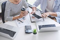 Business team collaboration discussing working analysis with financial data and marketing growth report graph in team, Meeting. Talking Brainstorming royalty free stock images