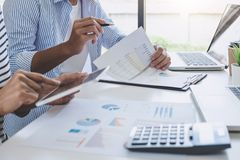 Business team collaboration discussing working analysis with financial data and marketing growth report graph in team, Meeting. Talking Brainstorming royalty free stock photo