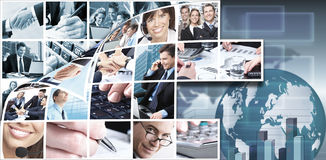 Business Team Collage Background. Stock Photos