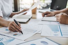 Business team colleagues discussing working analysis with financial data and marketing growth report graph in team, Meeting. Talking Brainstorming Communication royalty free stock images