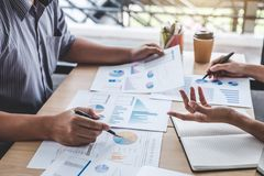 Business team colleagues discussing working analysis with financial data and marketing growth report graph in team, Meeting. Talking Brainstorming Communication stock photos