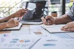 Business team colleagues discussing working analysis with financial data and marketing growth report graph in team, Meeting. Talking Brainstorming Communication stock photo