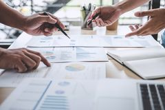 Business team colleagues discussing working analysis with financial data and marketing growth report graph in team, Meeting. Talking Brainstorming Communication stock image
