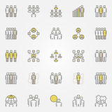 Business team colorful icons. Vector flat staff and people concept symbols. Community creative signs Royalty Free Stock Image