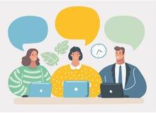 Business team communication. Blank speech bubbles royalty free illustration