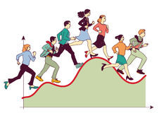 Business team competitive run graph. Stock Photography
