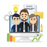 Business team on screen. Business team on computer screen with data vector illustration