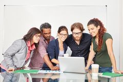 Business team in computer training. Learn about internet and e-learning royalty free stock photography