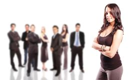 Business team concept. With its members posing together royalty free stock photography